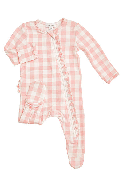 Pink Gingham Zipper Footie