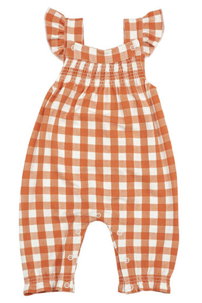 Pumpkin Gingham Smocked Coverall