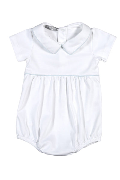 Baby Bliss White & Blue Collared Bubble