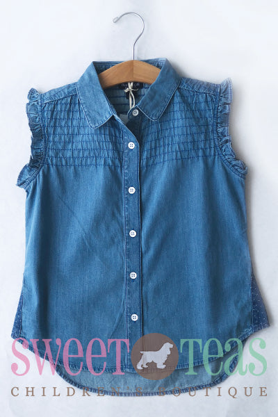 Blu & Blue Denim Sleeveless Shirt