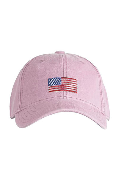 American Flag Needlepoint on Light Pink Hat