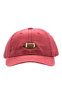 Football Needlepoint on Weathered Red Hat