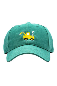 Tractor Needlepoint on Moss Green Hat