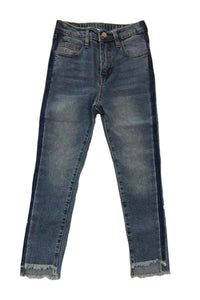 High Low Frayed Hem Jeans
