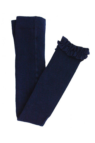 Navy Footless Ruffle Tights