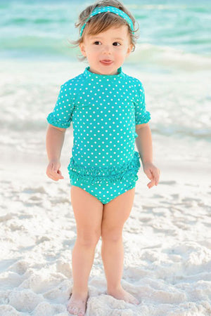 Ruffle Butts Aqua Polka Dot Ruffled Rash Guard Bikini