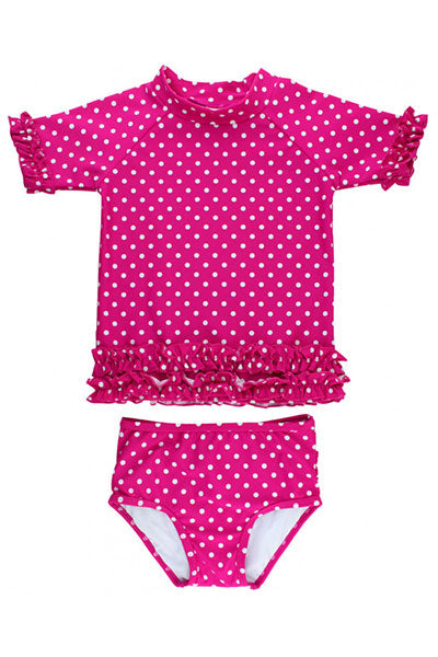Ruffle Butts Berry Polka Dot Ruffled Rash Guard Bikini