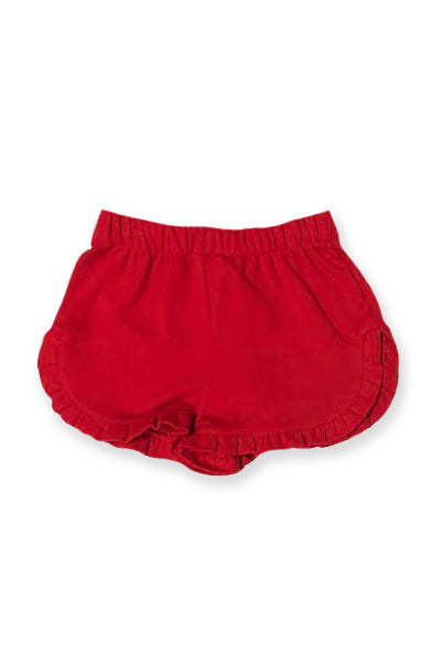 Red Knit Ruffle Short