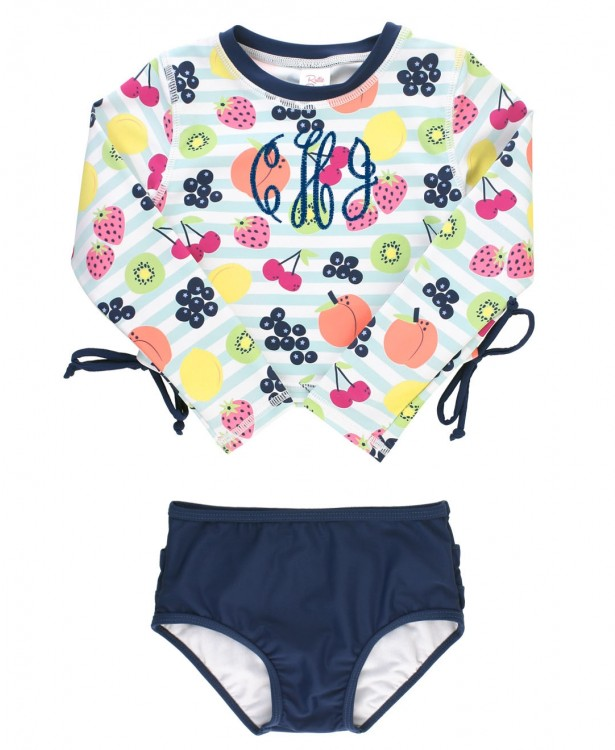 Fruit Fiesta Cropped Long Sleeve Rash Guard Bikini