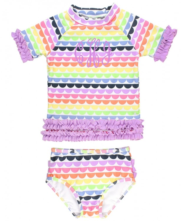 Rainbow Scalloped Ruffled Rash Guard