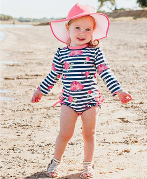Ruffle Butts Rosy Floral Stripe One Piece Rash Guard