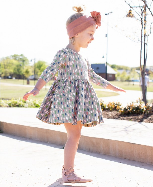 RuffleButts Brushed Confetti Twirl Dress