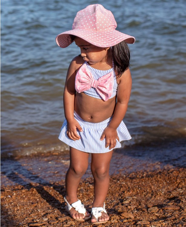 Ruffle Butts Periwinkle Seersucker Bow Skirted Bikini