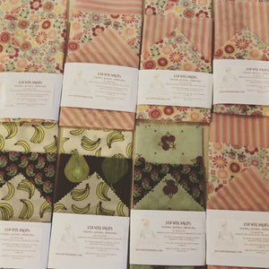 Beeswax Food Wraps - 1 package with 3 sizes