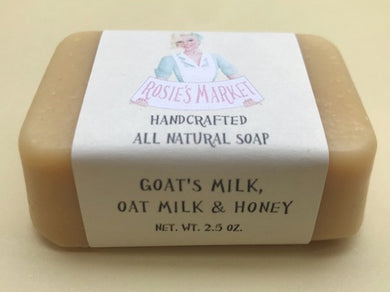 Goats & Oats Milk with Honey Soap Bar (Unscented) for dry sensitive skin or newborn babies . - Rosie's Market