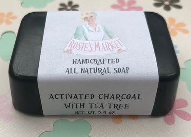 Natural Acne Treatment Charcoal & Tea Tree Oil Soap  - Facial Bar - Rosie's Market