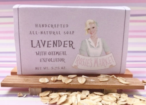 Lavender Oatmeal Soap Bar (Exfoliating) All Natural and Handmade