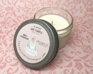 Rose Geranium Candle 2.5 oz. All Natural Soy