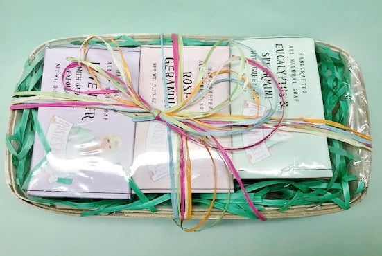 Beautiful Basket of Natural Handmade Soaps