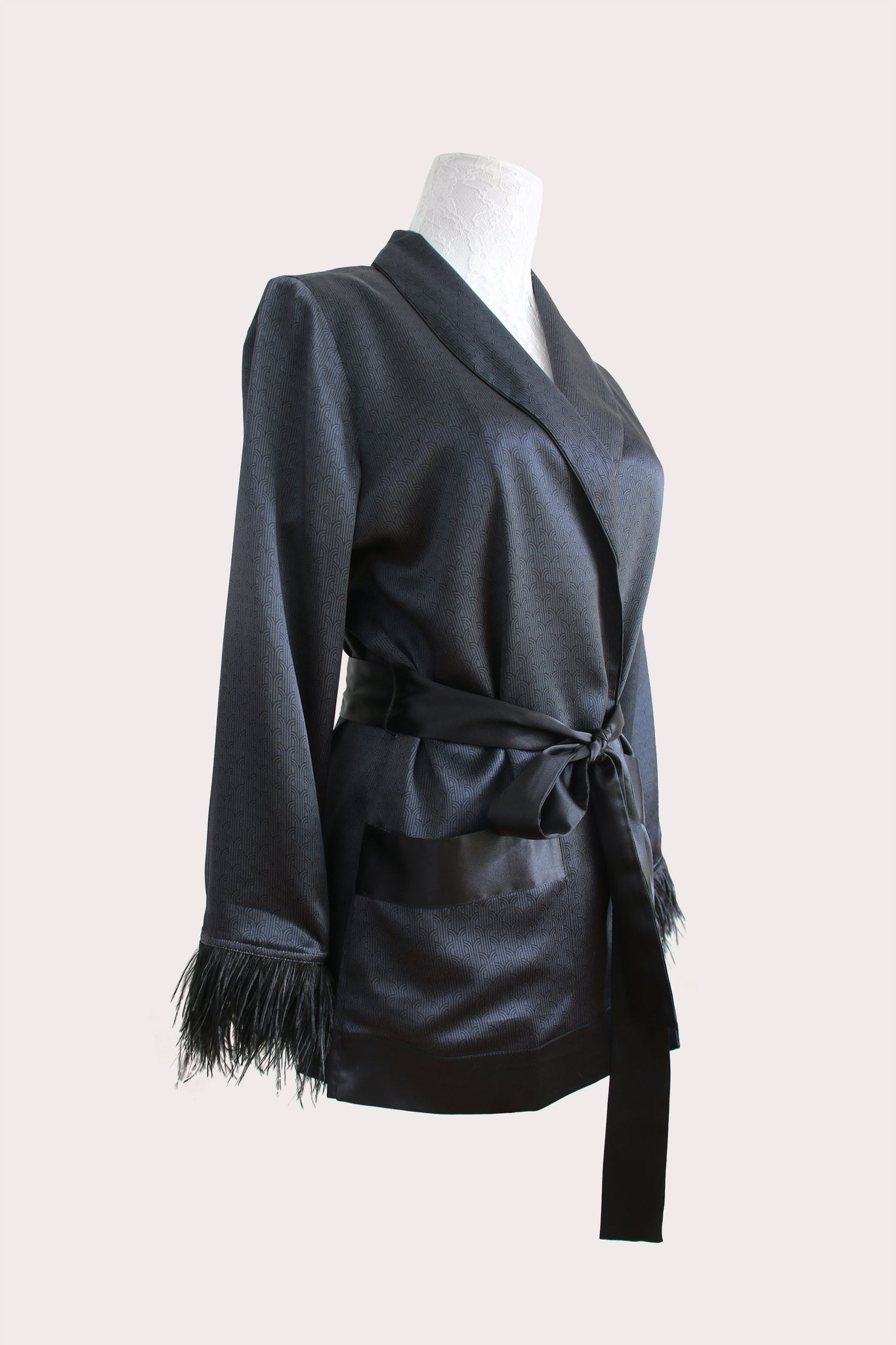 Katyusha Art Deco satin silk shawl jacket