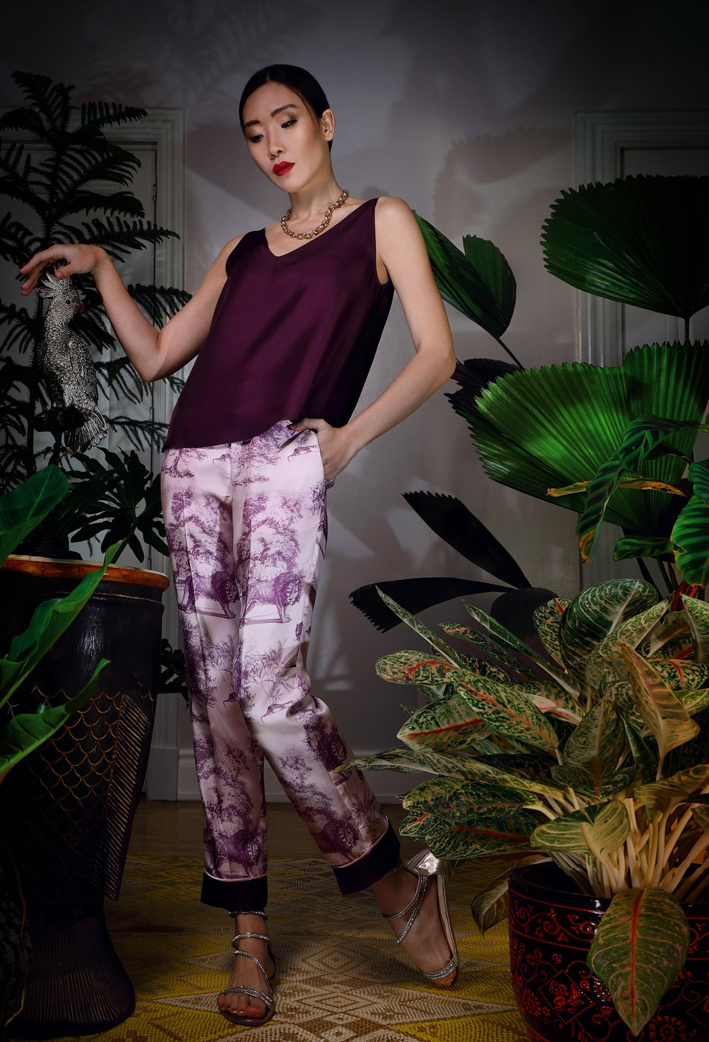 Katyusha Mauve Beasts twill silk pants and aubergine top