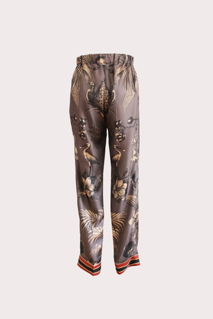 Katyusha Terracote Birds twill silk pants
