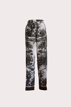 Katyusha Black&White Forest twill silk pants