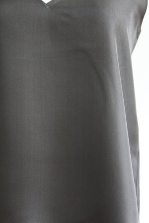 Katyusha Charcoal Black twill silk top