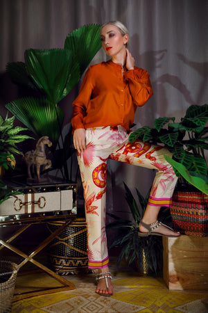 Katyusha Fiery brown classic blouse and snake pants