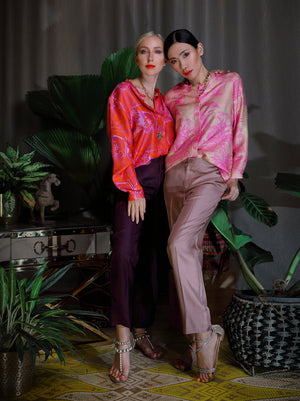 Katyusha Funky pink classic blouse, pink sand blouse and simple pants