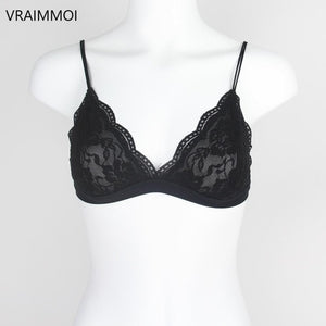 VRAIMMOI Sexy Lace Thin Triangle Bra For Women Lingerie Wireless Underwear Transparent Push Up bras Solid White/Black Bralette