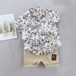 New Outfits Toddler Boy Clothing Summer Print Set Children Clothing Short Sleeve Shirt Suit for Baby Boys Suit for Kids Clothes