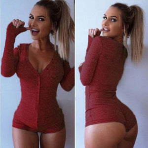 Womens Bodysuits Jumpsuits Playsuits V Neck Stretch Long Sleeve Shorts Pants botton sexy clubwear bodycon slim knitted clothes