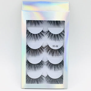 5 Pairs Multipack 5D Soft Mink Hair False Eyelashes Handmade Wispy Fluffy Long Lashes Natural Eye Makeup Tools Faux Eye Lashes