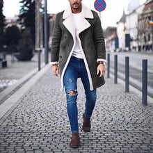 Load image into Gallery viewer, Faux Fur Fleece Faux Leather Jacket Men Winter Brown Suede Jacket Warm Bomber Long Coats Male Outwear Thicken Jacket  Plus Size