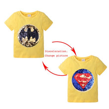 Load image into Gallery viewer, Changing Color and Pattern Spiderman Switchable Sequins Boys TShirts Kid Fashion Marvel Hero T Shirt Children Top Clothes Summer