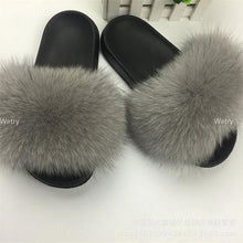 Load image into Gallery viewer, 2019 Big Full Fur Slippers   Real Fox Hair Slides Beach Slides holiday fox fur Slides for women
