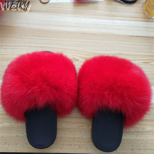 2019 Big Full Fur Slippers   Real Fox Hair Slides Beach Slides holiday fox fur Slides for women