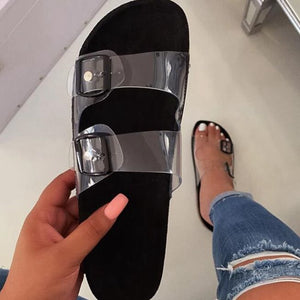 Summer Women Flat Slippers Jelly Slides Transparent Strap Female Open Toe Causal Flip Flops Outdoor Ladies Beach Shoes