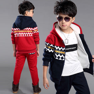 Boys Clothes Winter Children Clothing Set Warm Velvet Suit Kids Tracksuit Hooded Sweatshirt+Pants Boys Costumes Sports Set