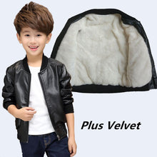 Load image into Gallery viewer, Teenager's Winter PU Leather Jackets Thicken Velvet Kids Jacket Boy's Clothes Warm Fleeced Coat Children's Clothing