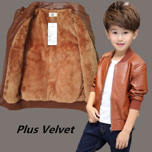 Teenager's Winter PU Leather Jackets Thicken Velvet Kids Jacket Boy's Clothes Warm Fleeced Coat Children's Clothing