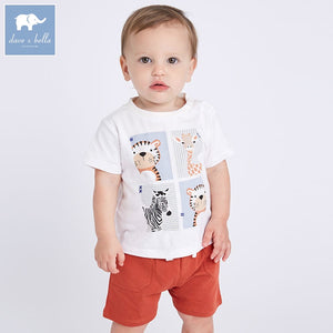 DBA6453 dave bella summer baby boy's fashion clothing sets children infant toddler suit kid's high quality clothes