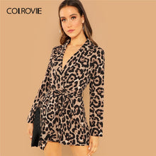 Load image into Gallery viewer, COLROVIE Knot Leopard Print Elegant Jumpsuit Romper Women Clothes Autumn Office Long Sleeve Sexy Playsuit Ladies Jumpsuits