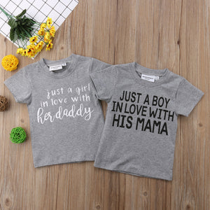 2018 New Casual Toddler Kids Baby Boy Girl Short Sleeve Letter Print Cotton Tee Tops Children Clothes 1-6Y
