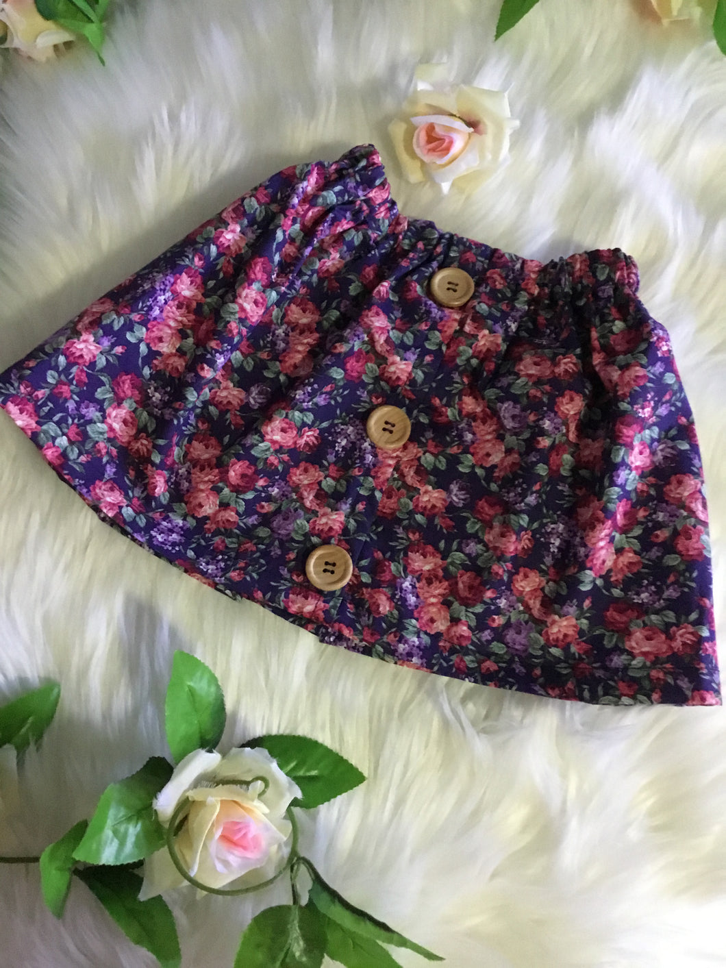 Navy& Pink Floral Skirt