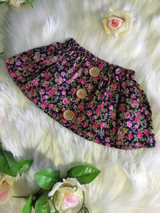 Navy & Pinks Floral Skirt