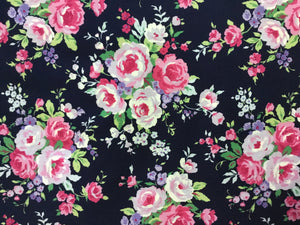 Cotton Floral Print Fabric in Navy with Pink Floral Design