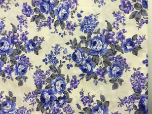 Vintage Floral Fabric in Ivory & Blue