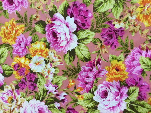 Cotton Vintage Floral in Shades of Cerise